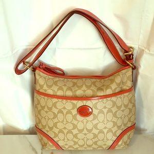 Authentic Coach Signature Coral/Tan Bag